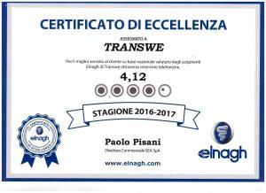certificato di eccellenza per il miglior servizio al cliente per transweit concessionario elnagh per como e provincia