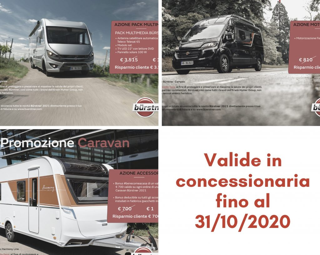promozione burstner motorhome camper van e caravan in concessionaria presso transweit como